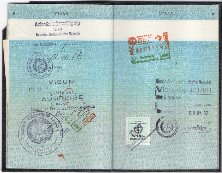 DDR Jan 1987 passport stamps